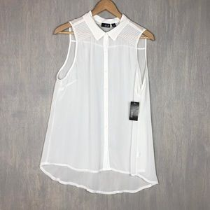 NWT A.N.A sheer ivory sleeveless collar blouse XL